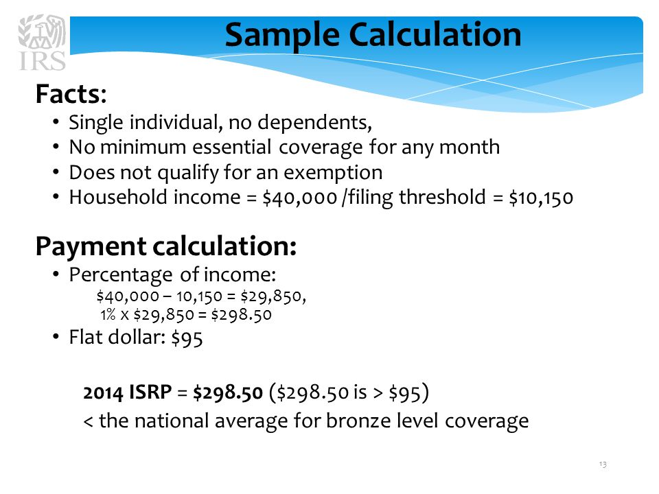 Sample Calculation Facts: Single individual, no dependents, No minimum essential coverage for any month Does not qualify for an exemption Household income = $40,000 /filing threshold = $10,150 Payment calculation: Percentage of income: $40,000 – 10,150 = $29,850, 1% x $29,850 = $298.50 Flat dollar: $95 2014 ISRP = $298.50 ($298.50 is > $95) < the national average for bronze level coverage 13