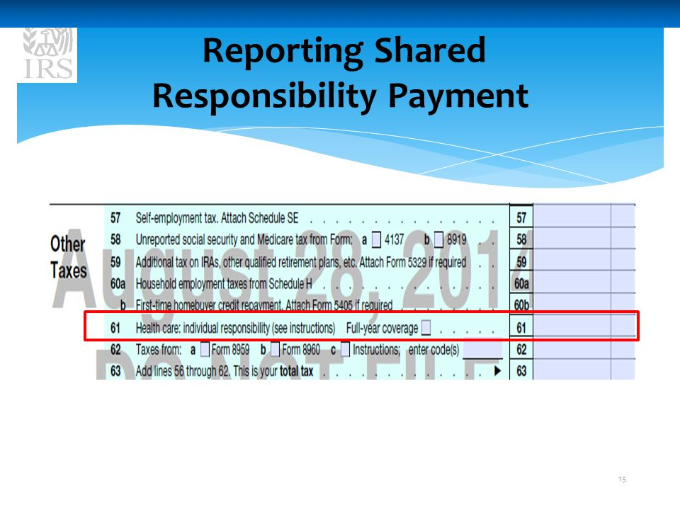 Reporting Shared Responsibility Payment 15