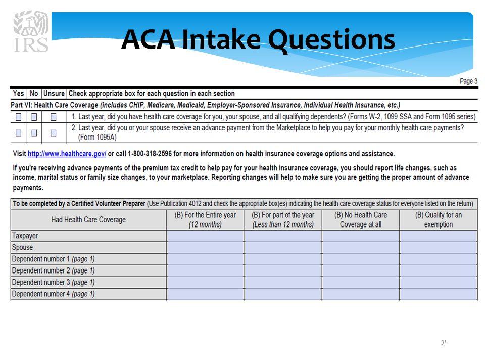ACA Intake Questions 31
