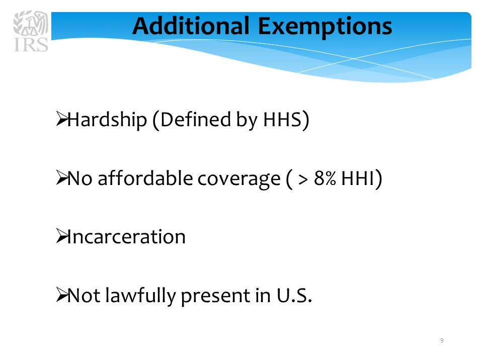Getting an Exemption  Obtained from Marketplace or IRS depending upon the type of exemption  Exemptions from the Marketplace need to be obtained at the earliest opportunity  Exemptions from the IRS can be obtained only by filing a federal tax return with new Form 8965 10