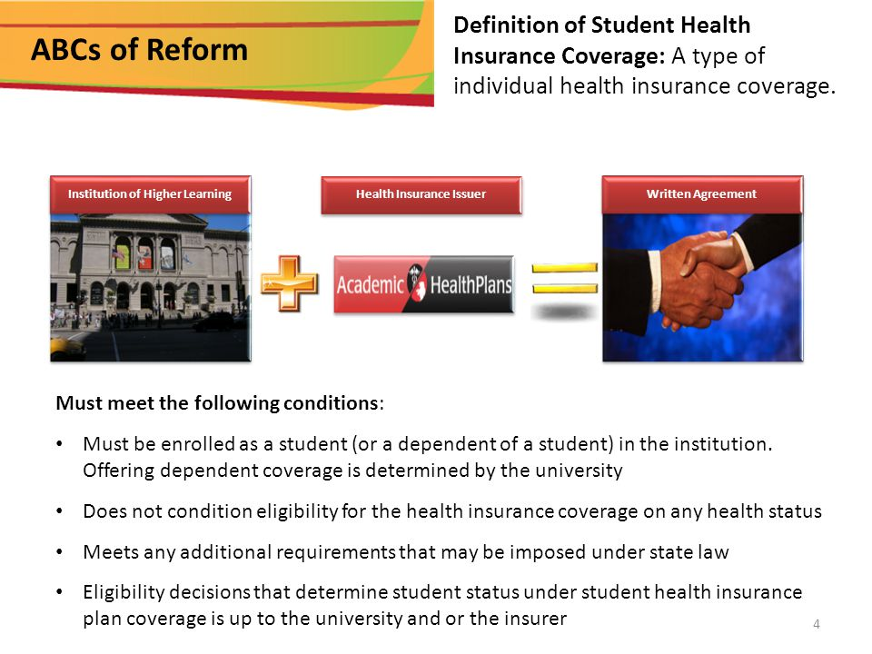 Summary: Student Health Plans Effective upon renewal in 2014 Individual mandate Essential Health Benefits Required No Pre-existing conditions exclusions for anyone Unlimited lifetime maximums Annual fee on health insurers, tax changes