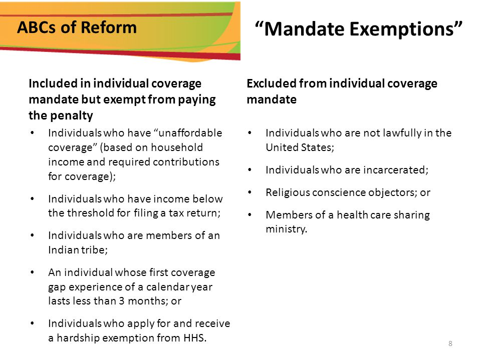 ABCs of Reform Mandate Exemptions Excluded from individual coverage mandate Individuals who are not lawfully in the United States; Individuals who are incarcerated; Religious conscience objectors; or Members of a health care sharing ministry.