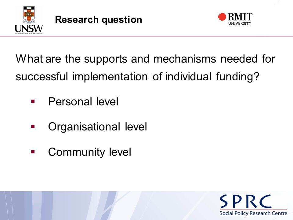 Research question What are the supports and mechanisms needed for successful implementation of individual funding.