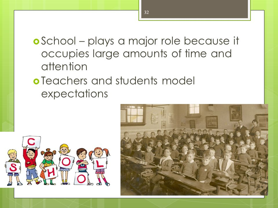  School – plays a major role because it occupies large amounts of time and attention  Teachers and students model expectations 32