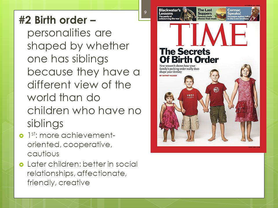  Family – most important socializer  Experiences within the family determines the type of person an individual becomes 30