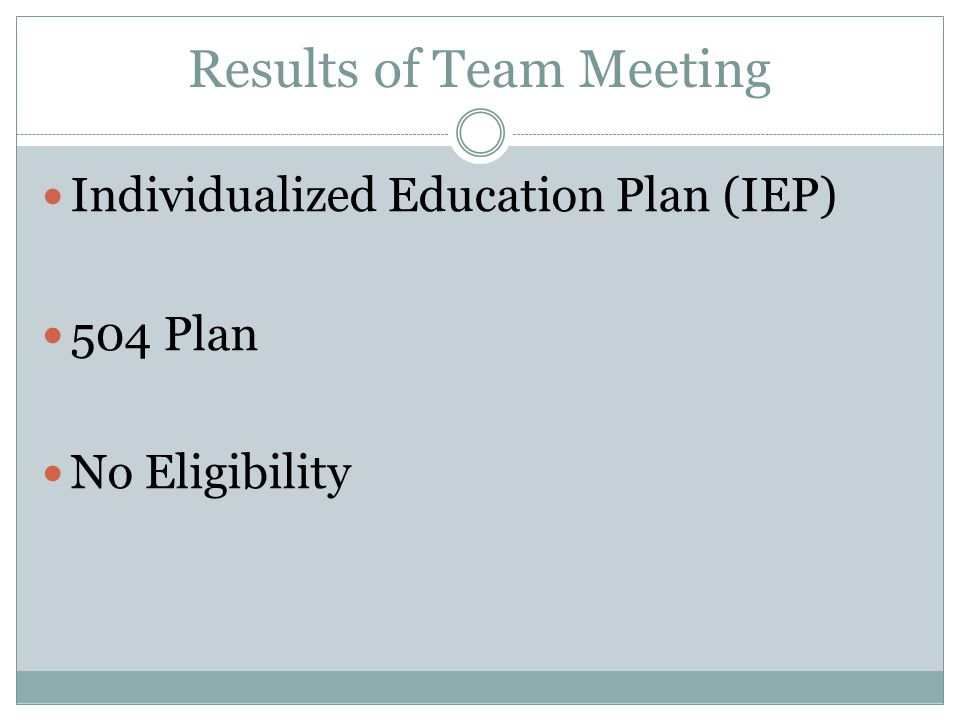 Results of Team Meeting Individualized Education Plan (IEP) 504 Plan No Eligibility