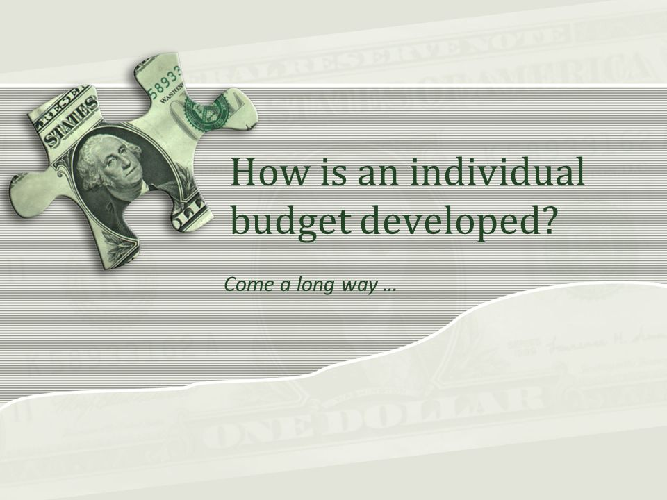 How is an individual budget developed Come a long way …