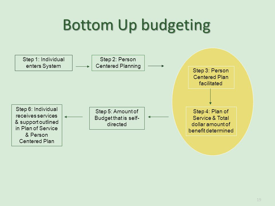 19 Step 1: Individual enters System Step 2: Person Centered Planning Step 3: Person Centered Plan facilitated Step 4: Plan of Service & Total dollar amount of benefit determined Step 6: Individual receives services & support outlined in Plan of Service & Person Centered Plan Step 5: Amount of Budget that is self- directed Bottom Up budgeting