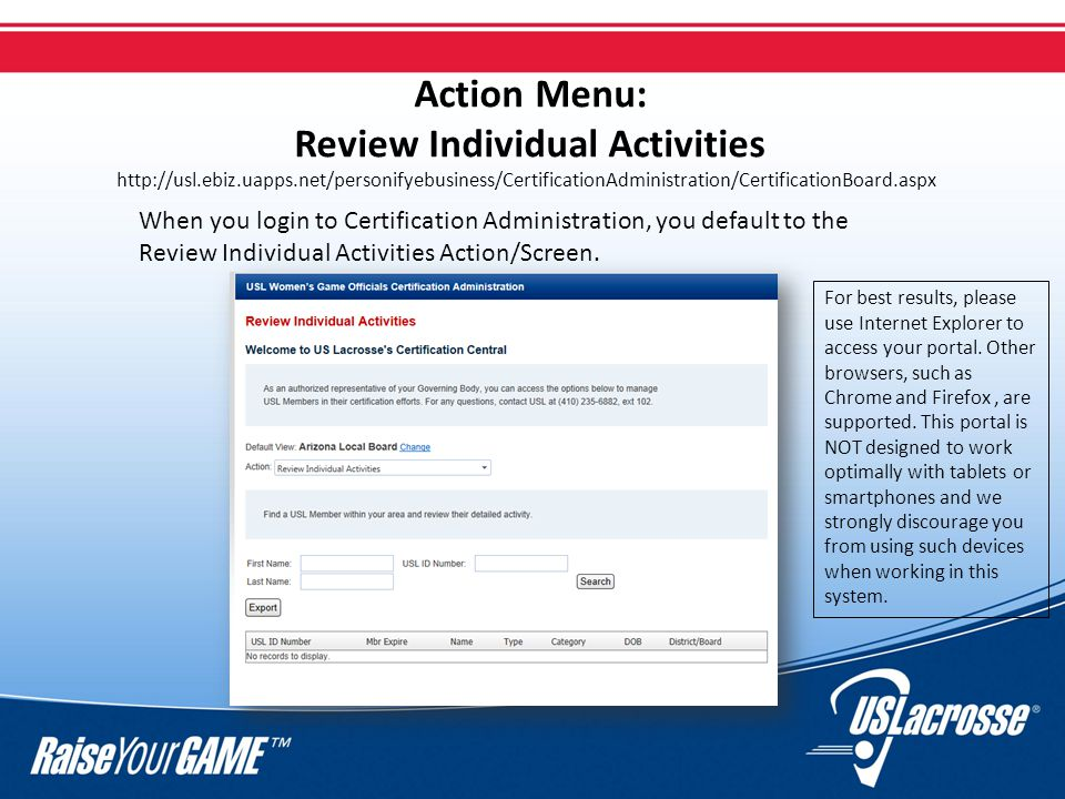 Review Individual Activities Summary Use this action to see current members of your board and those up to two years in the past Use the export function to get contact information and to view background screening status (if needed) This is the only place where background screening status is reported in the portal Click on an individual name to pull up a 360 degree summary of their member information and training history