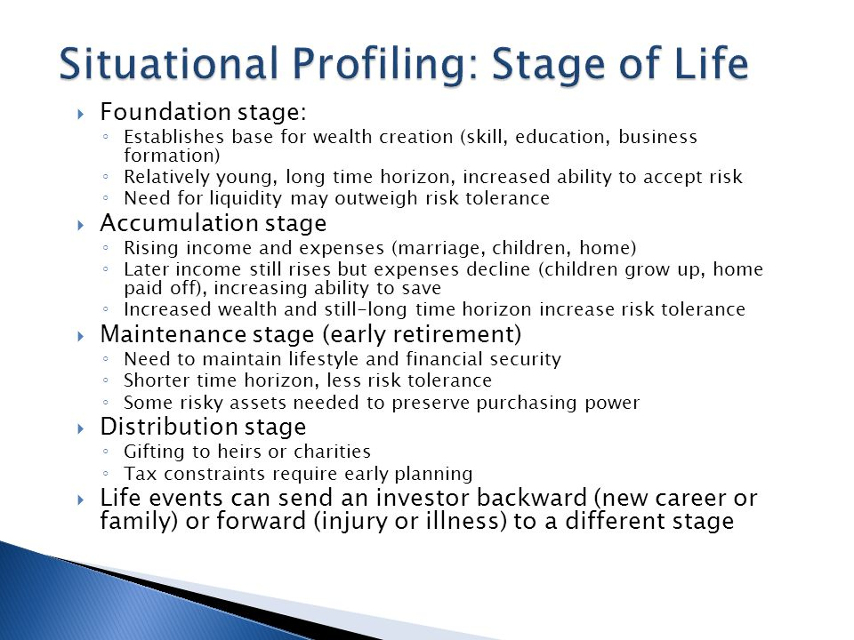  Foundation stage: ◦ Establishes base for wealth creation (skill, education, business formation) ◦ Relatively young, long time horizon, increased ability to accept risk ◦ Need for liquidity may outweigh risk tolerance  Accumulation stage ◦ Rising income and expenses (marriage, children, home) ◦ Later income still rises but expenses decline (children grow up, home paid off), increasing ability to save ◦ Increased wealth and still-long time horizon increase risk tolerance  Maintenance stage (early retirement) ◦ Need to maintain lifestyle and financial security ◦ Shorter time horizon, less risk tolerance ◦ Some risky assets needed to preserve purchasing power  Distribution stage ◦ Gifting to heirs or charities ◦ Tax constraints require early planning  Life events can send an investor backward (new career or family) or forward (injury or illness) to a different stage