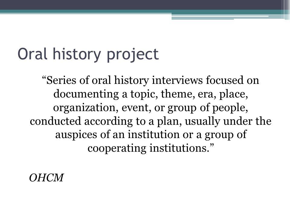 RDA and oral histories.