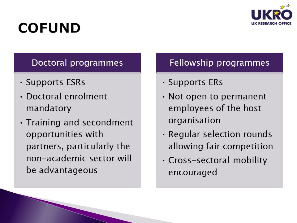 Doctoral programmes Supports ESRs Doctoral enrolment mandatory Training and secondment opportunities with partners, particularly the non-academic sector will be advantageous Fellowship programmes Supports ERs Not open to permanent employees of the host organisation Regular selection rounds allowing fair competition Cross-sectoral mobility encouraged