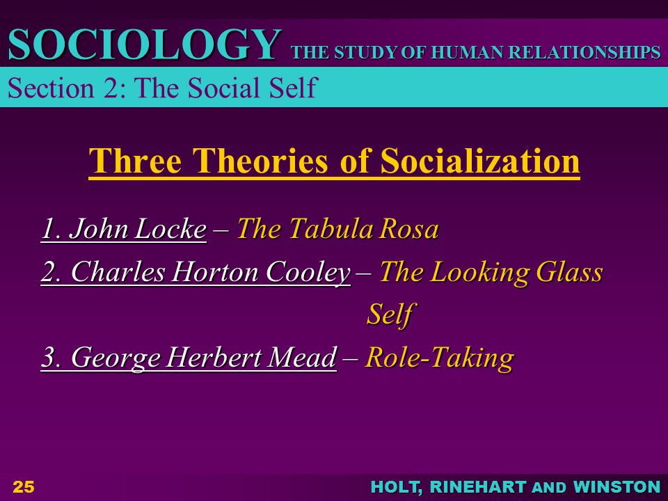 THE STUDY OF HUMAN RELATIONSHIPS SOCIOLOGY HOLT, RINEHART AND WINSTON 25 Three Theories of Socialization 1.