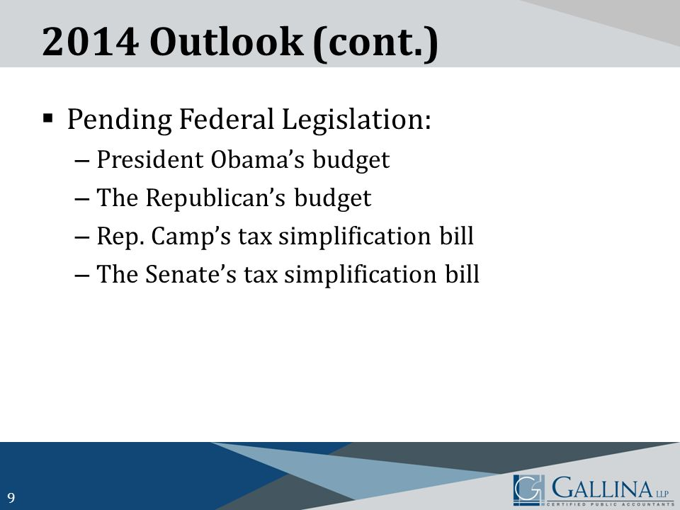 2014 Outlook (cont.)  Pending Federal Legislation: – President Obama's budget – The Republican's budget – Rep.