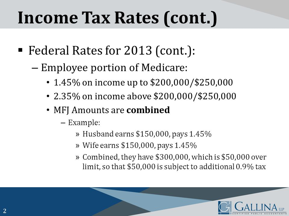 Income Tax Rates (cont.)  Federal Rates for 2013 (cont.): – Employee portion of Medicare: 1.45% on income up to $200,000/$250,000 2.35% on income above $200,000/$250,000 MFJ Amounts are combined – Example: » Husband earns $150,000, pays 1.45% » Wife earns $150,000, pays 1.45% » Combined, they have $300,000, which is $50,000 over limit, so that $50,000 is subject to additional 0.9% tax 2