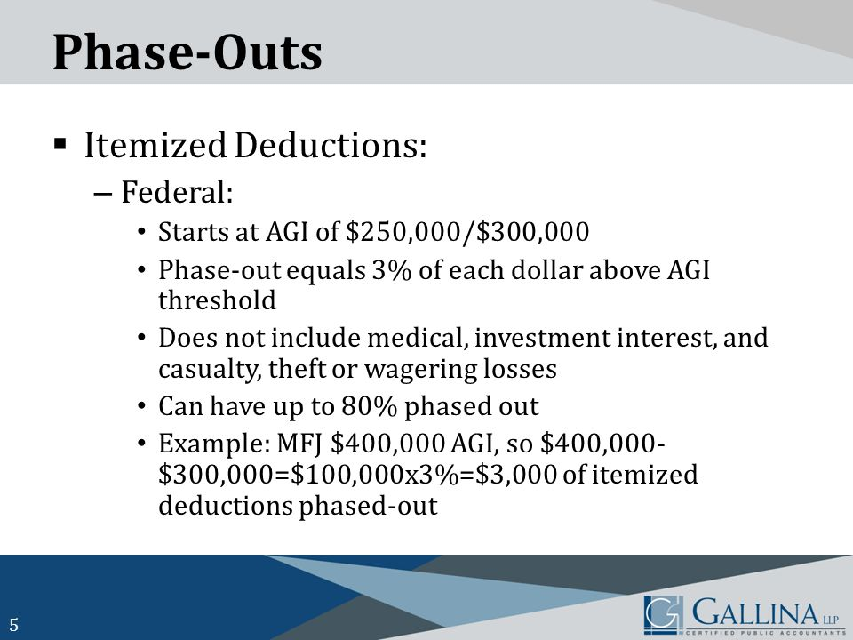 Phase-Outs  Itemized Deductions: – Federal: Starts at AGI of $250,000/$300,000 Phase-out equals 3% of each dollar above AGI threshold Does not include medical, investment interest, and casualty, theft or wagering losses Can have up to 80% phased out Example: MFJ $400,000 AGI, so $400,000- $300,000=$100,000x3%=$3,000 of itemized deductions phased-out 5