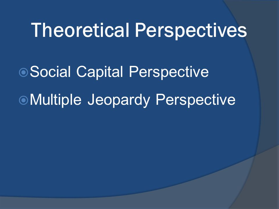 Theoretical Perspectives  Social Capital Perspective  Multiple Jeopardy Perspective