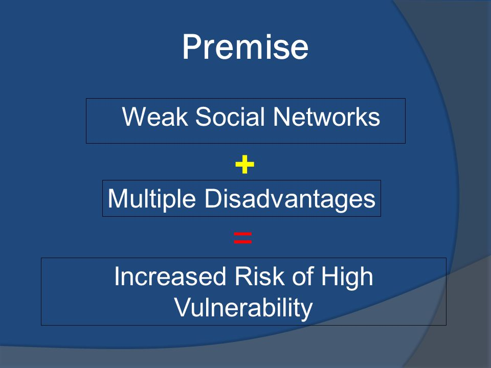 Multiple Jeopardy Perspective Individuals or families with multiple disadvantages have greater vulnerability to the effects of a natural disaster EXAMPLE: Elderly Persons ○ Poor/Poverty ○ In Poor Health ○ Widowed or Living Alone ○ Concentrated Poverty ○ Socially Isolated Neighborhoods