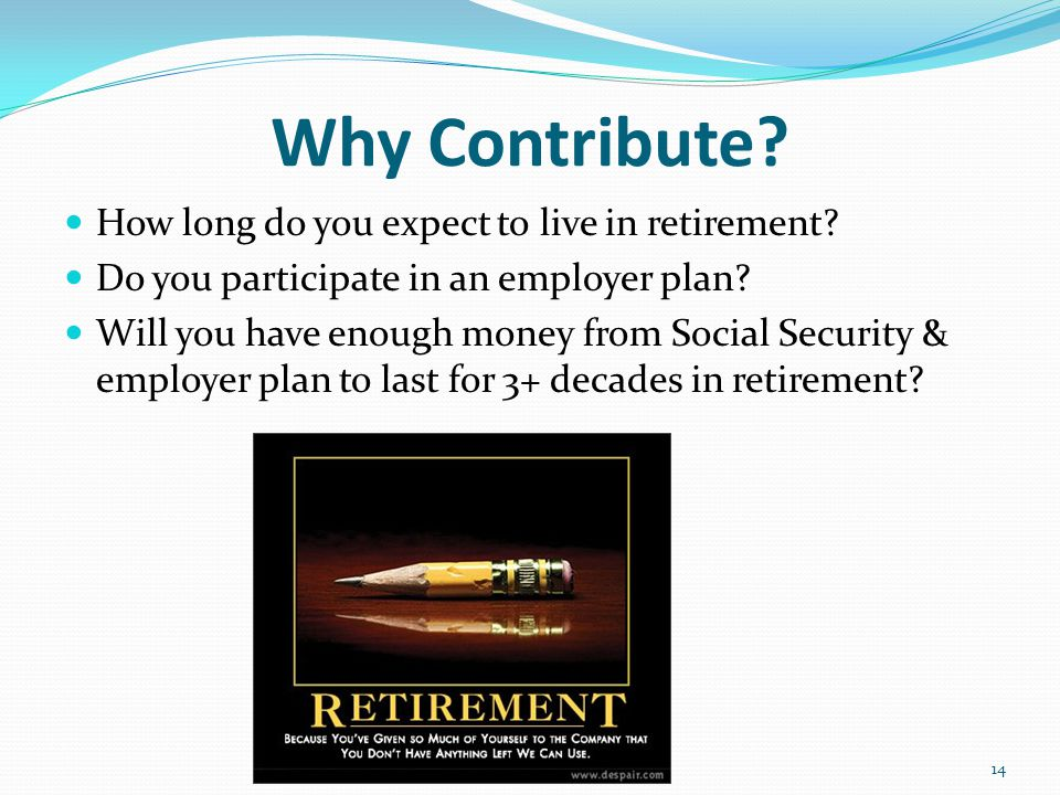 Why Contribute. How long do you expect to live in retirement.