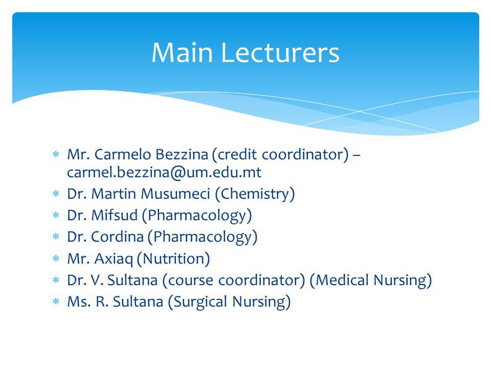  Mr. Carmelo Bezzina (credit coordinator) – carmel.bezzina@um.edu.mt  Dr.