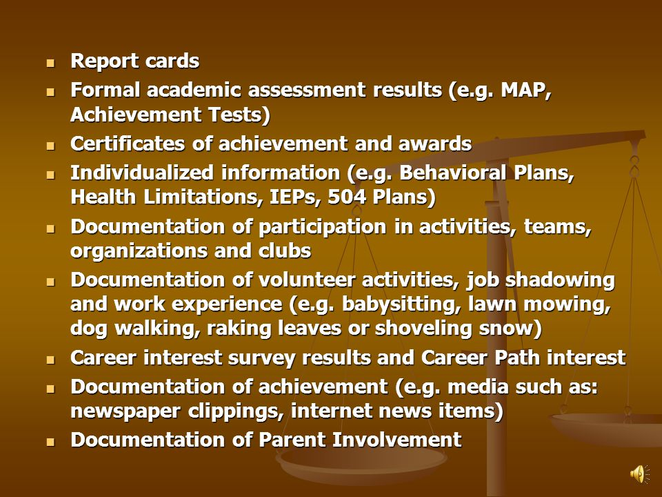Elementary School IP Key elements should be kept as the student progresses through elementary school.