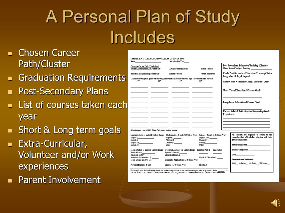 Resource File Key Elements: Middle School coursework and grades Formal academic assessment results Certificates of achievement and awards Individualized information (Behavioral Plans, Health Limitations, IEPs, 504 Plans, etc.) Documentation of participation in activities Documentation of volunteer/job shadowing/work experience Career interest survey results/Career Path interest Documentation of achievement via media recognition Documentation of Parent Involvement Report cards