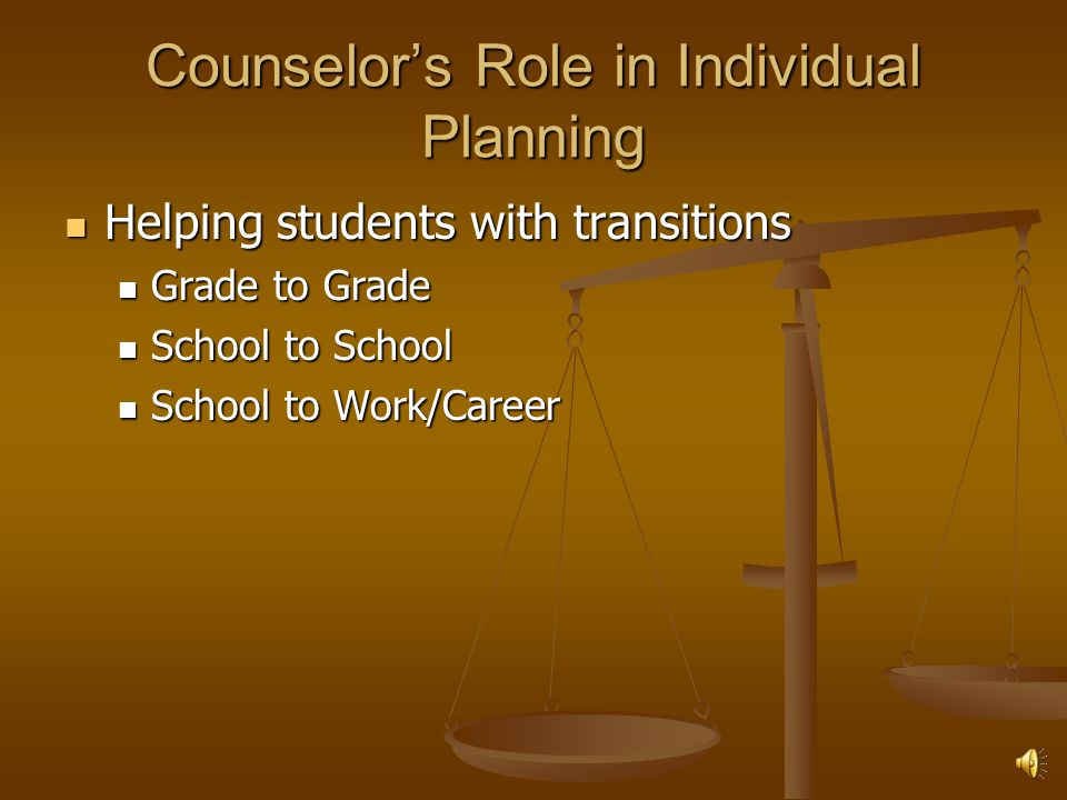 Counselor's Role in Individual Planning Helping students with transitions Helping students with transitions Grade to Grade Grade to Grade School to School School to School School to Work/Career School to Work/Career