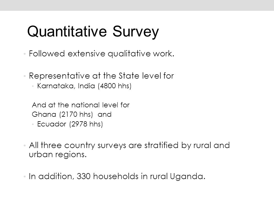 Quantitative Survey Followed extensive qualitative work.