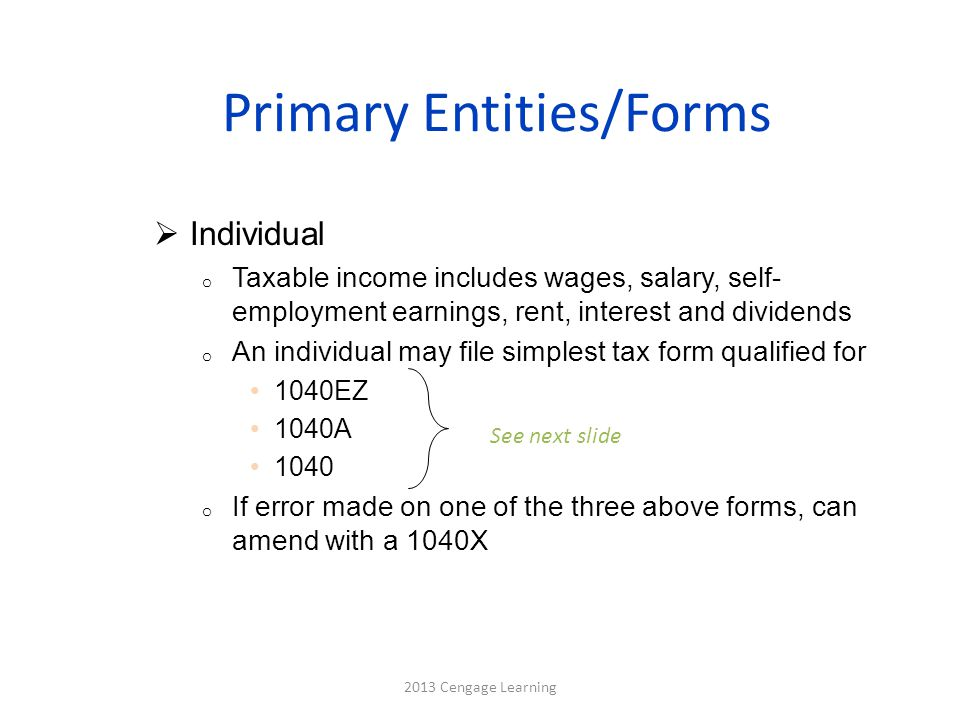 Primary Entities/Forms  Individual o Taxable income includes wages, salary, self- employment earnings, rent, interest and dividends o An individual may file simplest tax form qualified for 1040EZ 1040A 1040 o If error made on one of the three above forms, can amend with a 1040X 2013 Cengage Learning See next slide