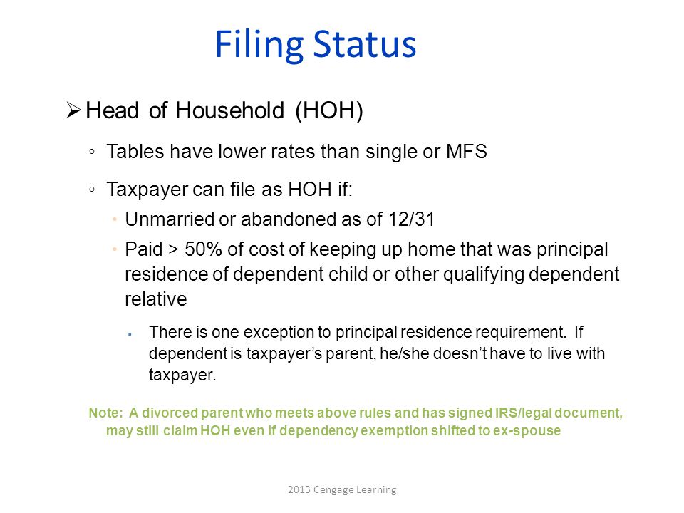 Filing Status  Head of Household (HOH) ◦ Tables have lower rates than single or MFS ◦ Taxpayer can file as HOH if:  Unmarried or abandoned as of 12/31  Paid > 50% of cost of keeping up home that was principal residence of dependent child or other qualifying dependent relative  There is one exception to principal residence requirement.