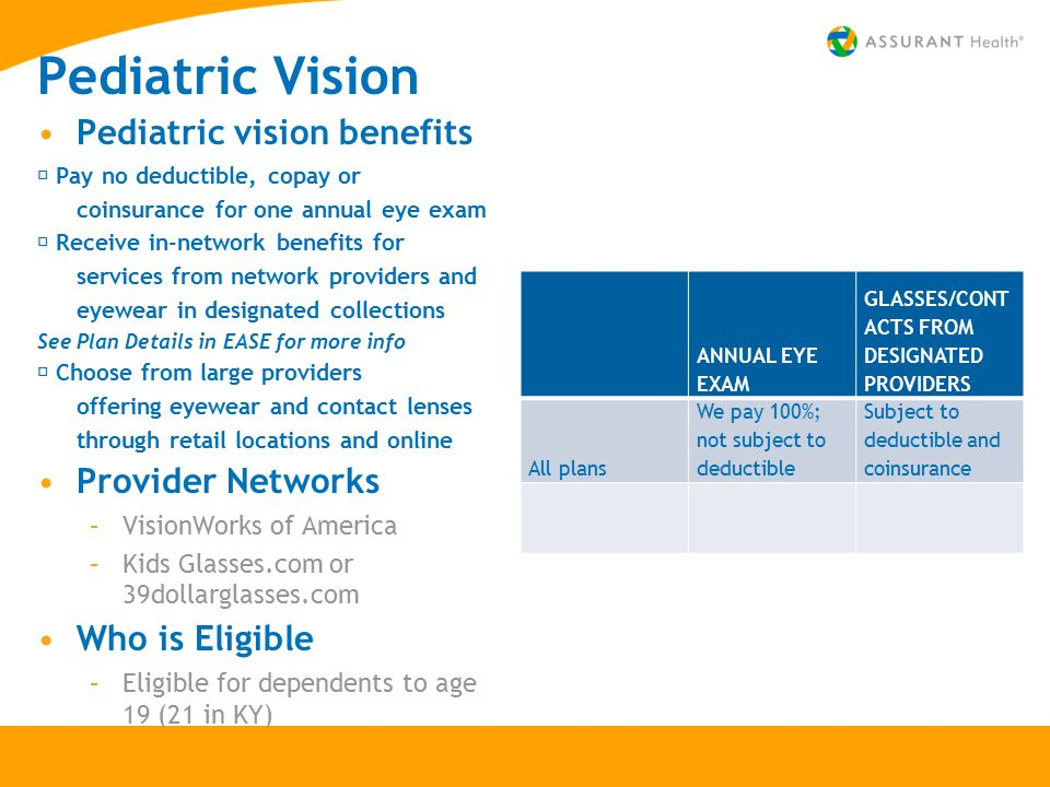 Pediatric Vision Pediatric vision benefits  Pay no deductible, copay or coinsurance for one annual eye exam  Receive in-network benefits for service