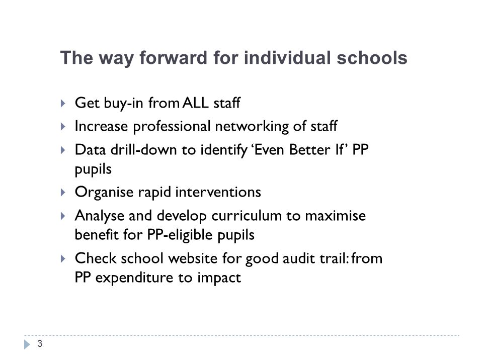 The way forward for individual schools  Get buy-in from ALL staff  Increase professional networking of staff  Data drill-down to identify 'Even Bet
