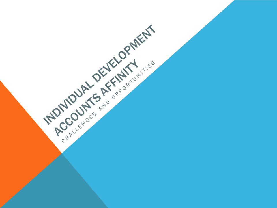 INDIVIDUAL DEVELOPMENT ACCOUNTS AFFINITY CHALLENGES AND OPPORTUNITIES