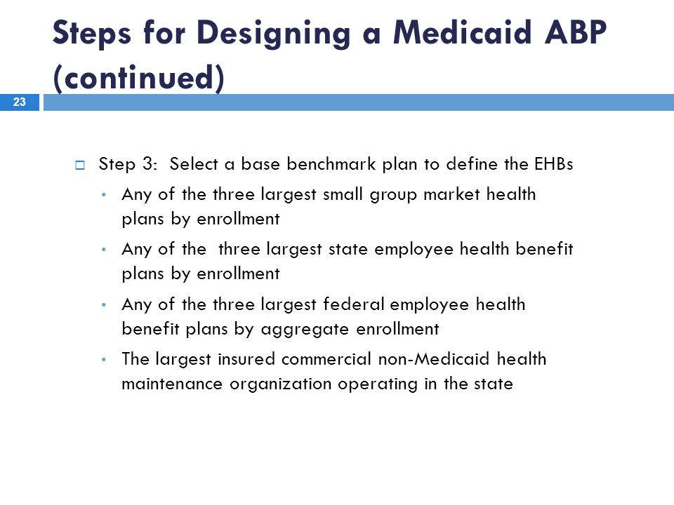 Steps for Designing a Medicaid ABP (continued) 23  Step 3: Select a base benchmark plan to define the EHBs Any of the three largest small group marke