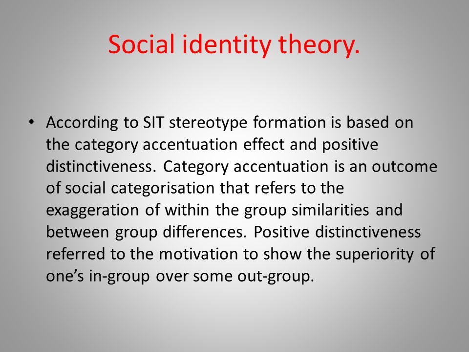Social identity theory.