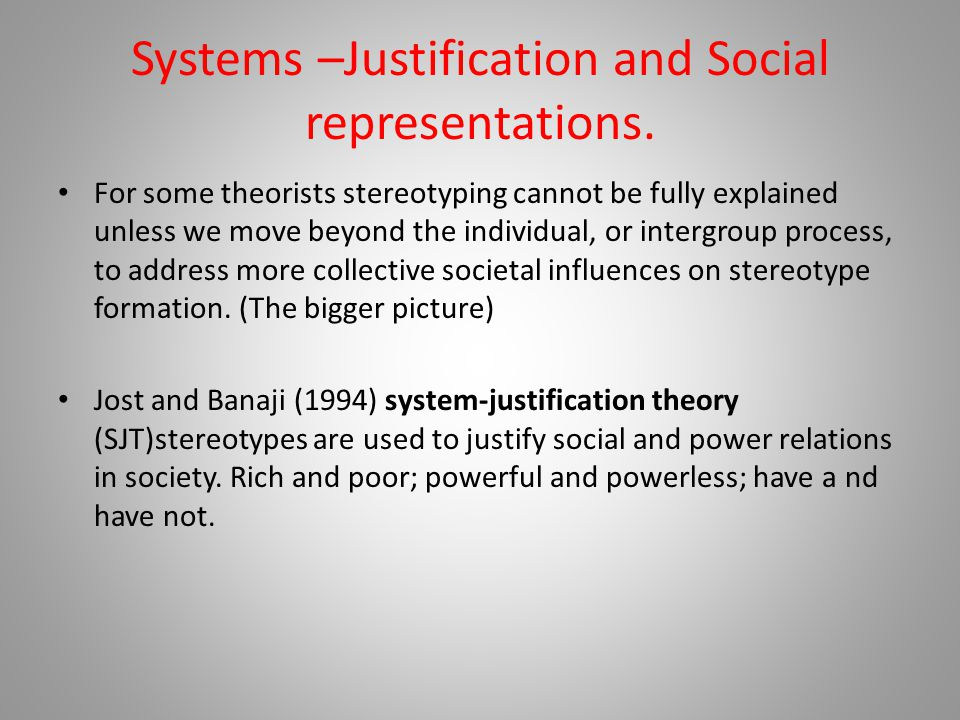 Systems –Justification and Social representations.