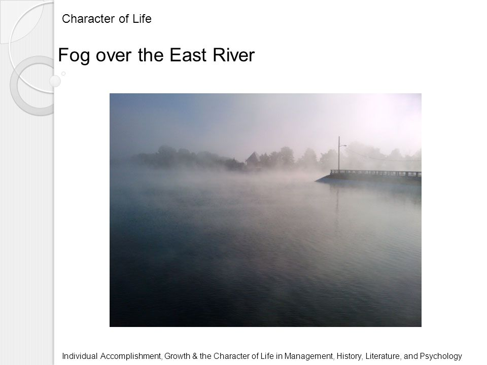 Character of Life Individual Accomplishment, Growth & the Character of Life in Management, History, Literature, and Psychology Fog over the East River