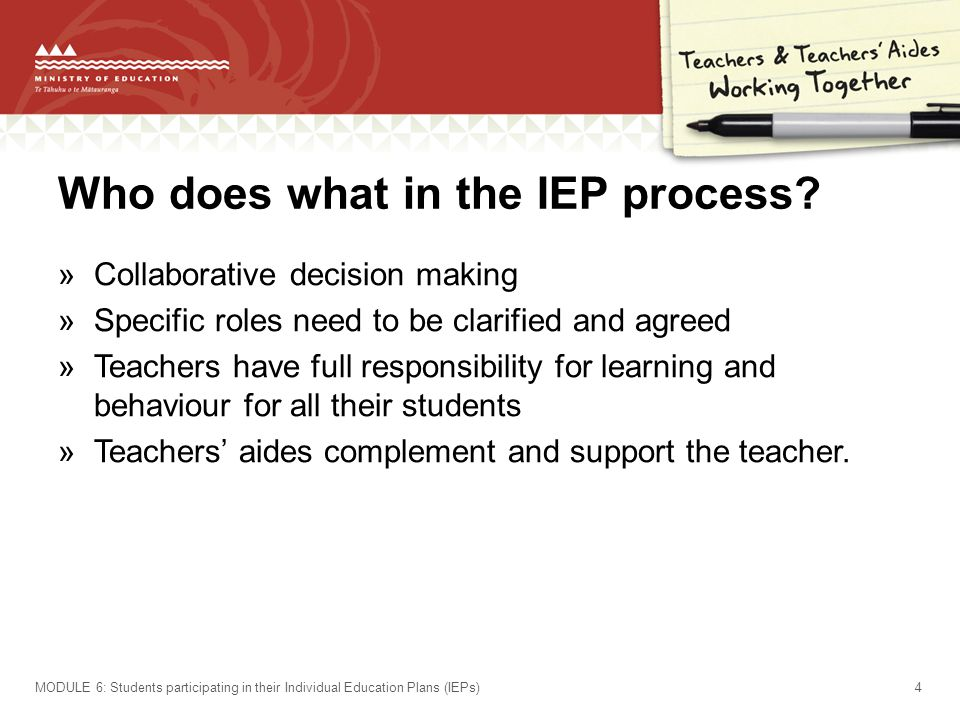 Who does what in the IEP process.
