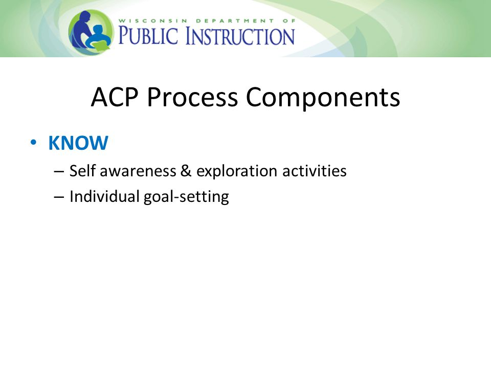 ACP Process Components EXPLORE – Career awareness assessment – Career research & postsecondary training options – Connect a student's middle and high school instructional activities with the education and preparation needed to successfully enter a particular field of interest