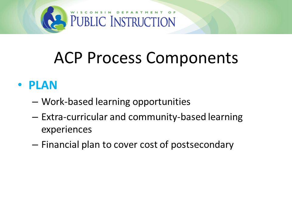 ACP Process Components GO – Adapt/Modify regularly Intentional Sequence of Courses Personal Goals Career Goals – ACP Conferencing