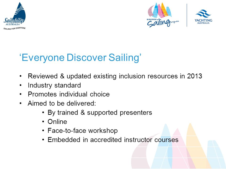 'Everyone Discover Sailing' Reviewed & updated existing inclusion resources in 2013 Industry standard Promotes individual choice Aimed to be delivered: By trained & supported presenters Online Face-to-face workshop Embedded in accredited instructor courses