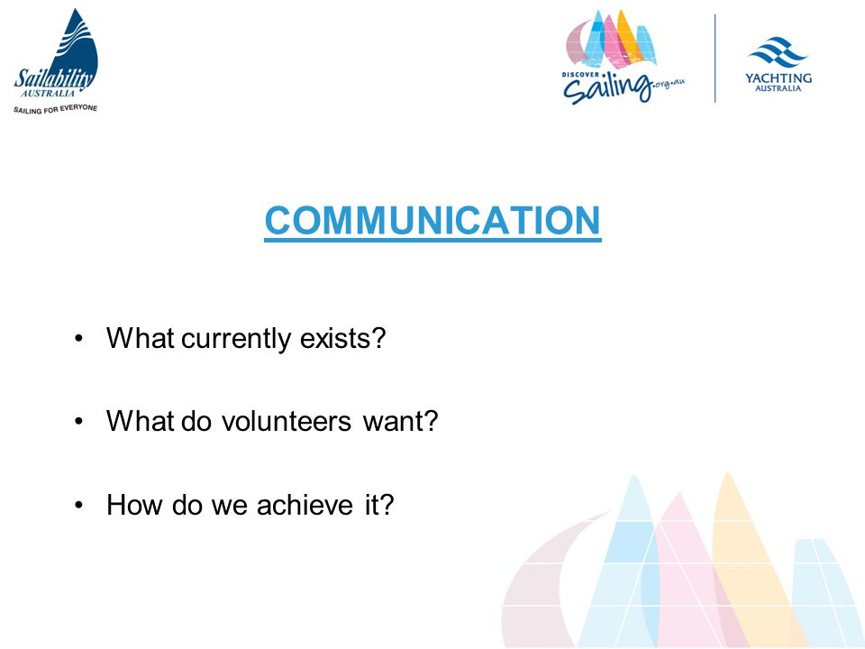 COMMUNICATION What currently exists What do volunteers want How do we achieve it
