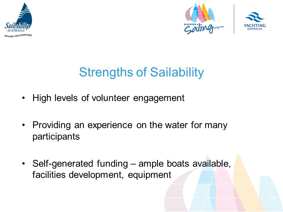 Strengths of Sailability High levels of volunteer engagement Providing an experience on the water for many participants Self-generated funding – ample boats available, facilities development, equipment