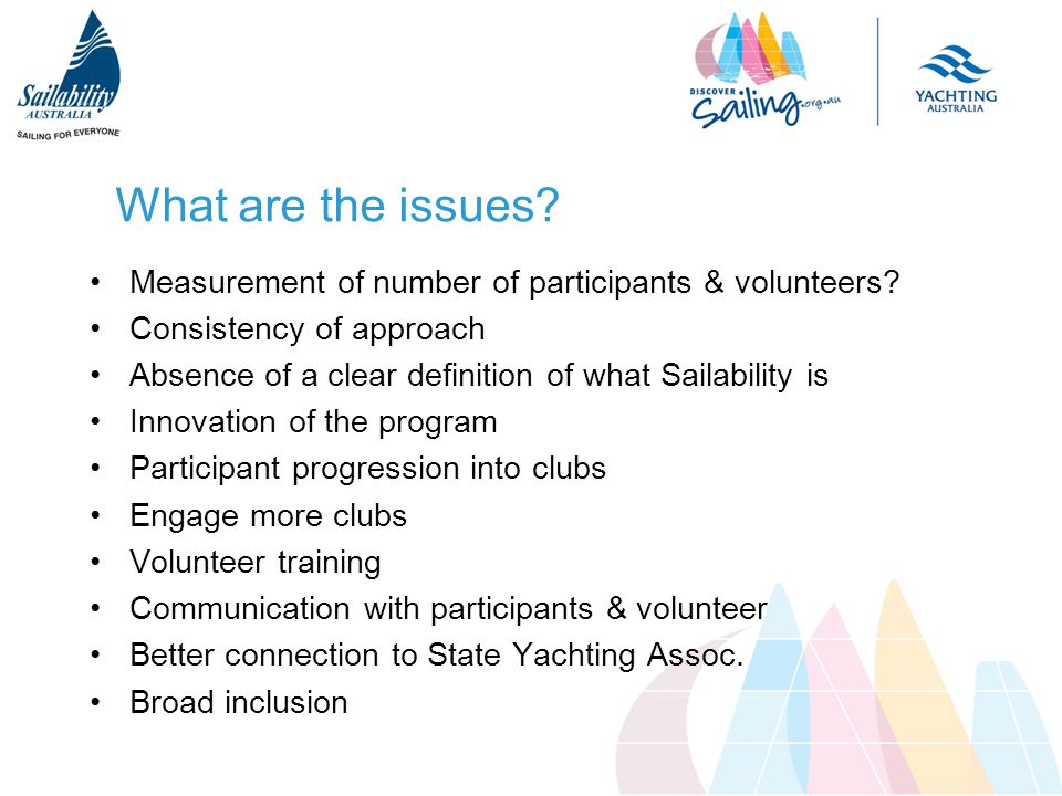 What are the issues. Measurement of number of participants & volunteers.