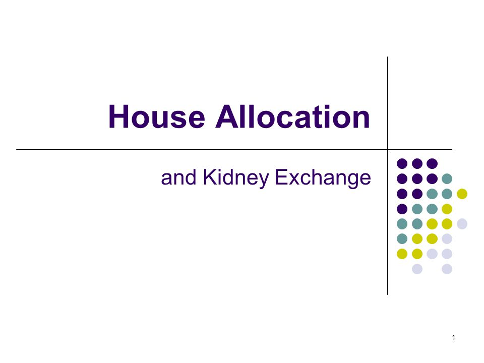 House Allocation and Kidney Exchange 1