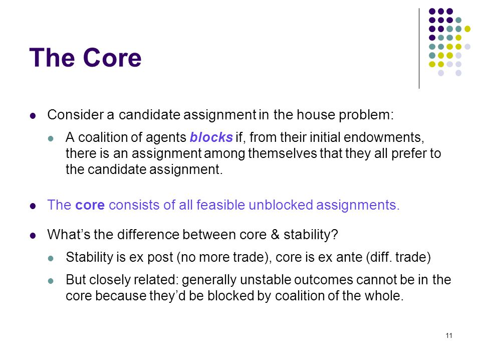 The Core Consider a candidate assignment in the house problem: A coalition of agents blocks if, from their initial endowments, there is an assignment