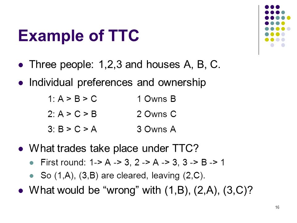 Example of TTC Three people: 1,2,3 and houses A, B, C. Individual preferences and ownership 1: A > B > C1 Owns B 2: A > C > B2 Owns C 3: B > C > A3 Ow