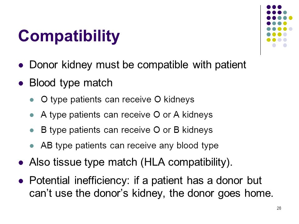 Compatibility Donor kidney must be compatible with patient Blood type match O type patients can receive O kidneys A type patients can receive O or A k