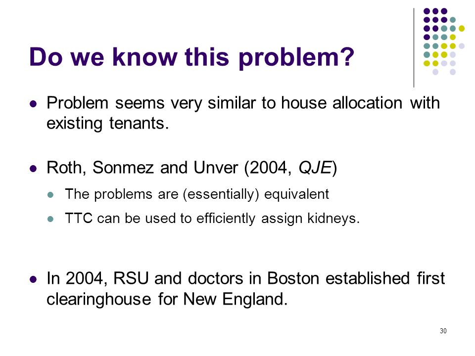 Do we know this problem? Problem seems very similar to house allocation with existing tenants. Roth, Sonmez and Unver (2004, QJE) The problems are (es