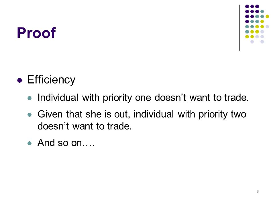 Proof Efficiency Individual with priority one doesn't want to trade. Given that she is out, individual with priority two doesn't want to trade. And so